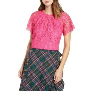 NEW J. Crew Pink Lace Short Sleeve Blouse Top